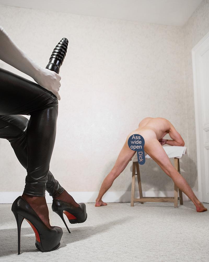 high heel and dildo