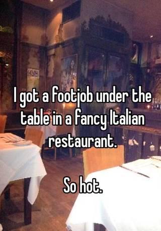 at restaurant footjob