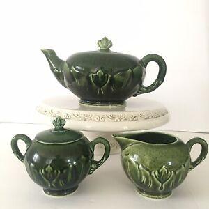 green vintage tea pot
