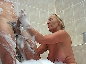 housewife gives shower handjob in